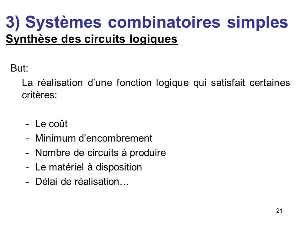 21 3) Systèmes combinatoires simples Synthèse des circuits logiques But: La réalisation dune fonction logique qui satisfait certaines critères: -Le co