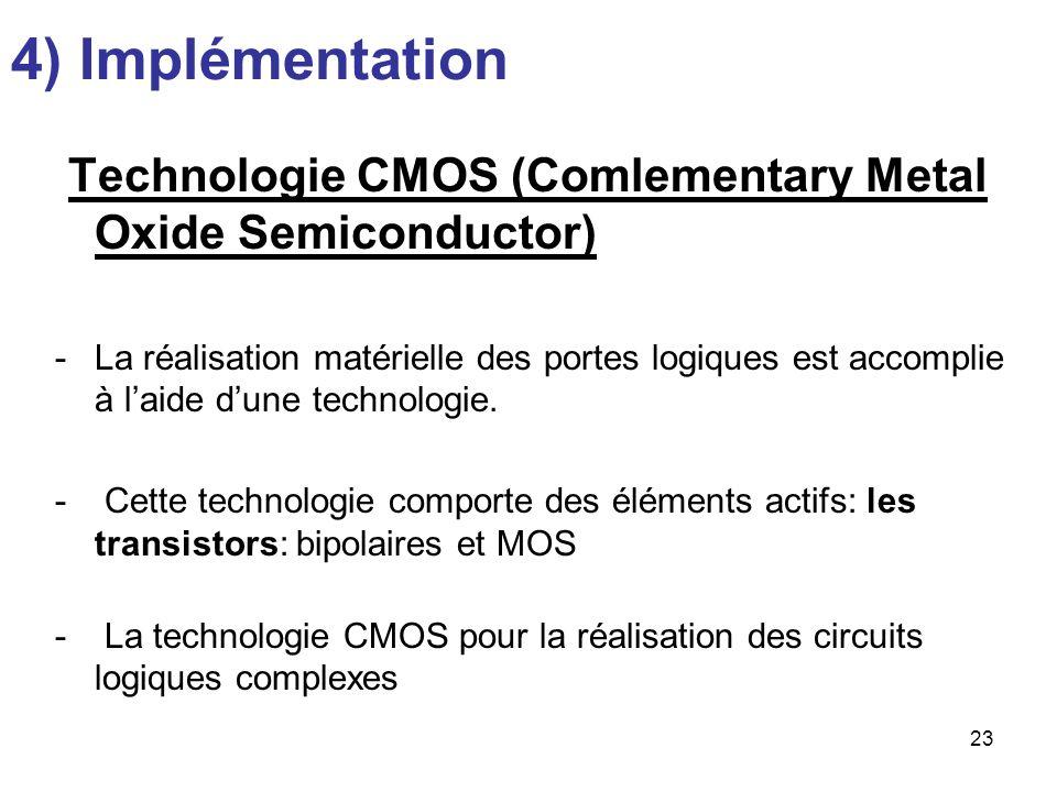 23 4) Implémentation Technologie CMOS (Comlementary Metal Oxide Semiconductor) -La réalisation matérielle des portes logiques est accomplie à laide du