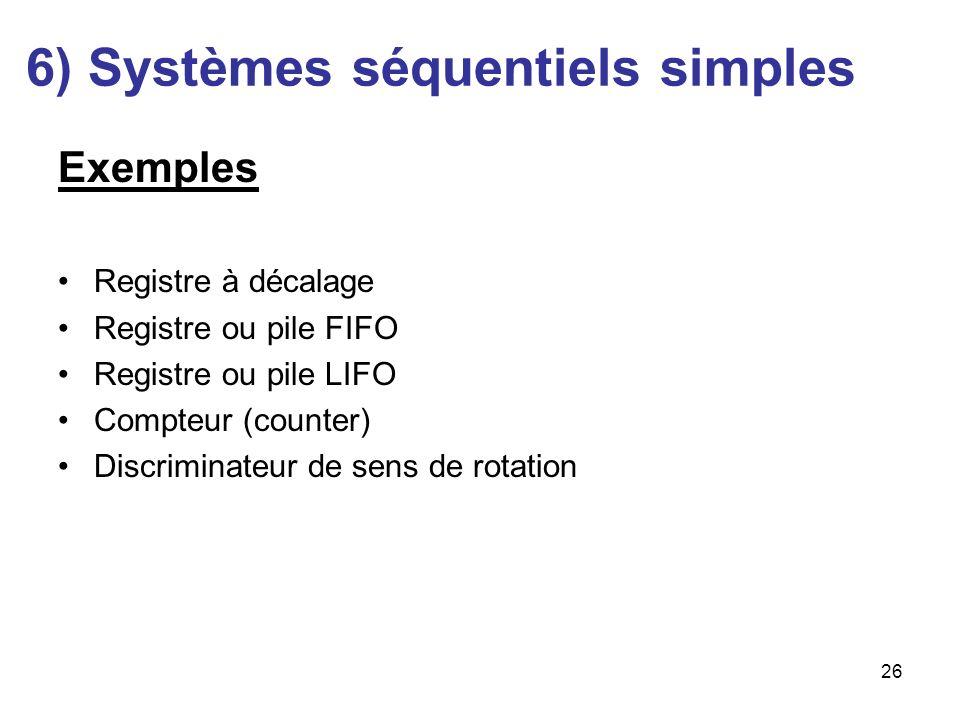 26 Exemples Registre à décalage Registre ou pile FIFO Registre ou pile LIFO Compteur (counter) Discriminateur de sens de rotation 6) Systèmes séquenti