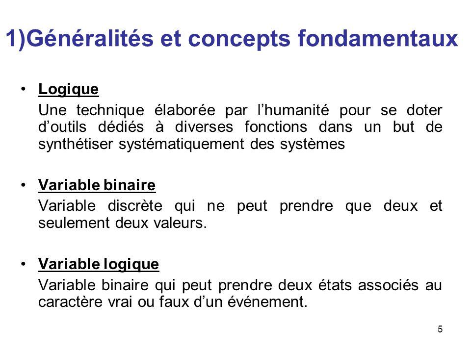 5 1)Généralités et concepts fondamentaux Logique Une technique élaborée par lhumanité pour se doter doutils dédiés à diverses fonctions dans un but de