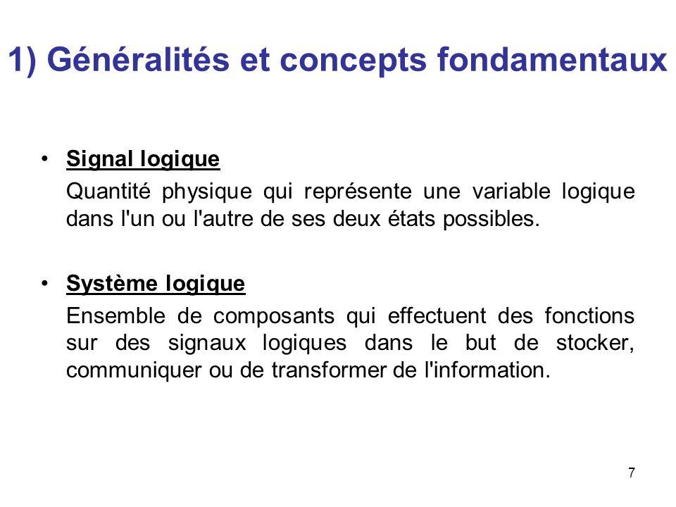 7 Signal logique Quantité physique qui représente une variable logique dans l'un ou l'autre de ses deux états possibles. Système logique Ensemble de c