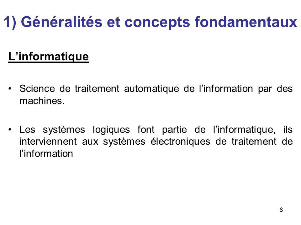 8 Linformatique Science de traitement automatique de linformation par des machines. Les systèmes logiques font partie de linformatique, ils intervienn