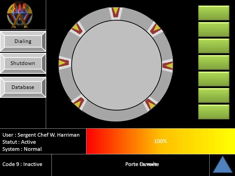 User : Sergent Chef W. Harriman Statut : Actif System : Normal Code 9 : Inactif 10% Porte Fermée Database