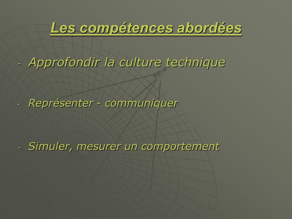 Les compétences abordées - Approfondir la culture technique - Représenter - communiquer - Simuler, mesurer un comportement