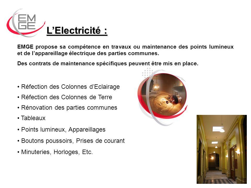 LElectricité : EMGE propose sa compétence en travaux ou maintenance des points lumineux et de lappareillage électrique des parties communes.