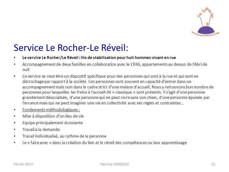 Service Le Rocher-Le Réveil: Le service Le Rocher/Le Réveil : lits de stabilisation pour huit hommes vivant en rue Accompagnement de deux familles en