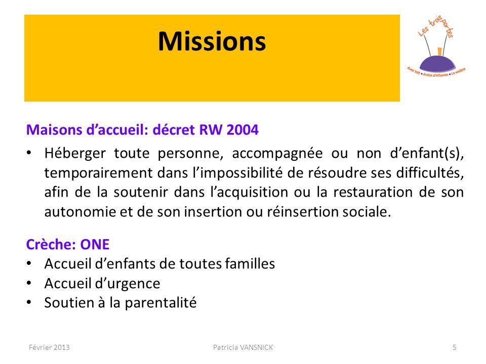 Missions Maisons daccueil: décret RW 2004 Héberger toute personne, accompagnée ou non denfant(s), temporairement dans limpossibilité de résoudre ses d