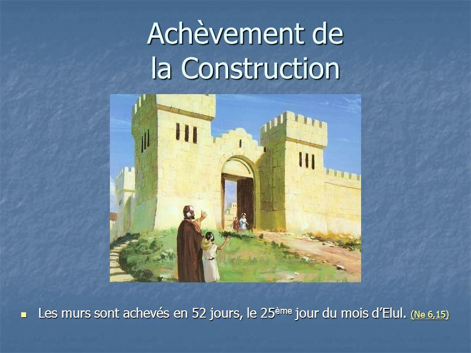 Achèvement de la Construction Les murs sont achevés en 52 jours, le 25 ème jour du mois dElul. (Ne 6,15) Les murs sont achevés en 52 jours, le 25 ème