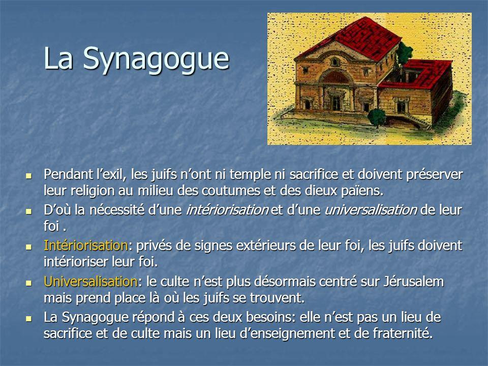 La Synagogue Pendant lexil, les juifs nont ni temple ni sacrifice et doivent préserver leur religion au milieu des coutumes et des dieux païens. Penda
