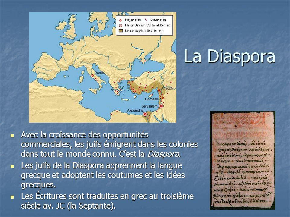 La Diaspora Avec la croissance des opportunités commerciales, les juifs émigrent dans les colonies dans tout le monde connu. Cest la Diaspora. Avec la