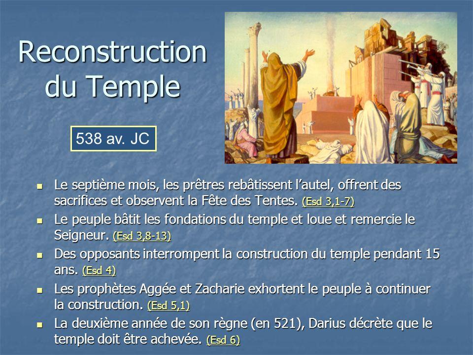 Reconstruction du Temple Le septième mois, les prêtres rebâtissent lautel, offrent des sacrifices et observent la Fête des Tentes. (Esd 3,1-7) Le sept