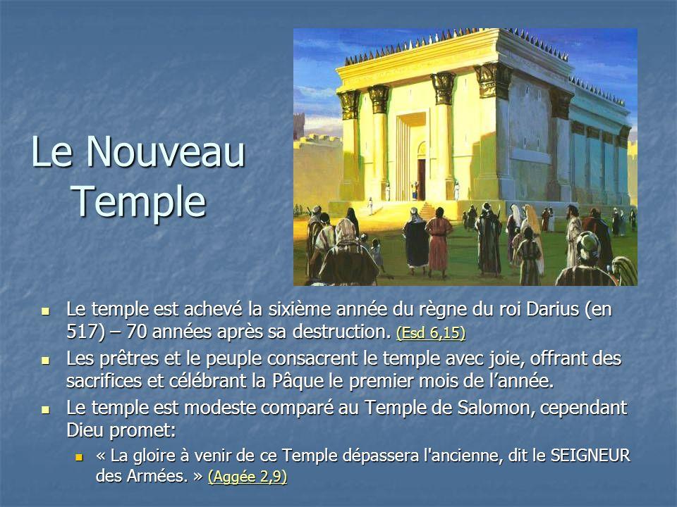 Le Nouveau Temple Le temple est achevé la sixième année du règne du roi Darius (en 517) – 70 années après sa destruction. (Esd 6,15) Le temple est ach