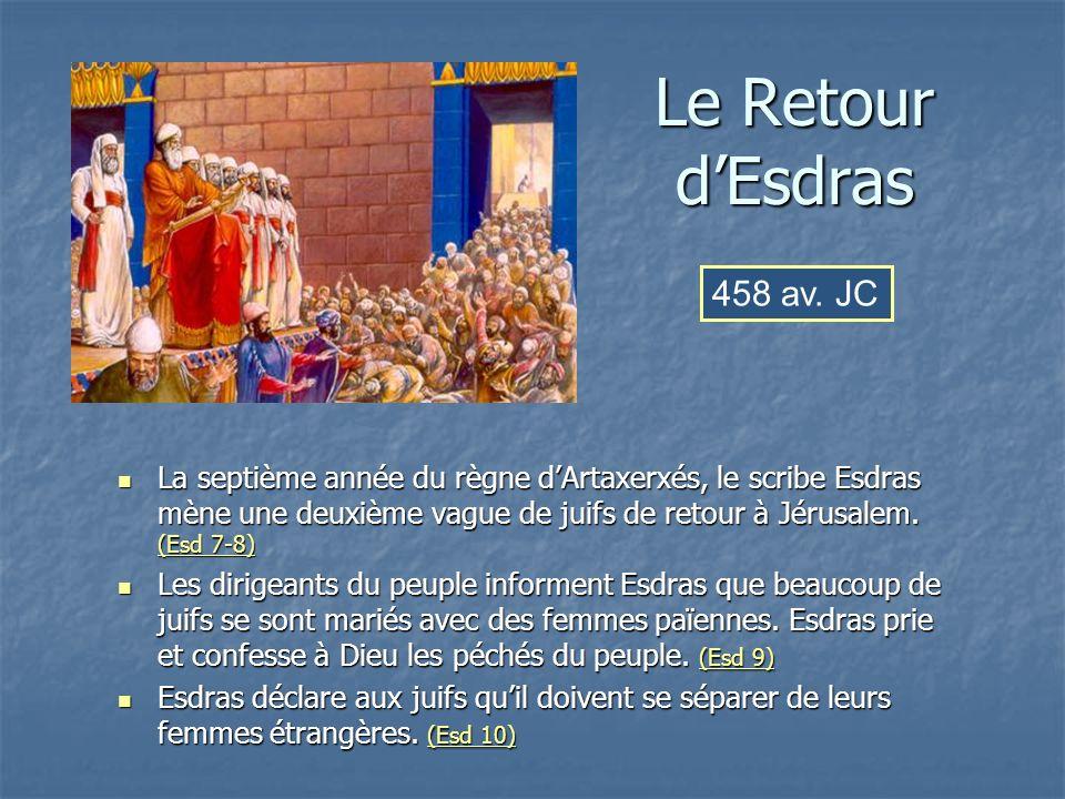 Le Retour dEsdras La septième année du règne dArtaxerxés, le scribe Esdras mène une deuxième vague de juifs de retour à Jérusalem. (Esd 7-8) La septiè