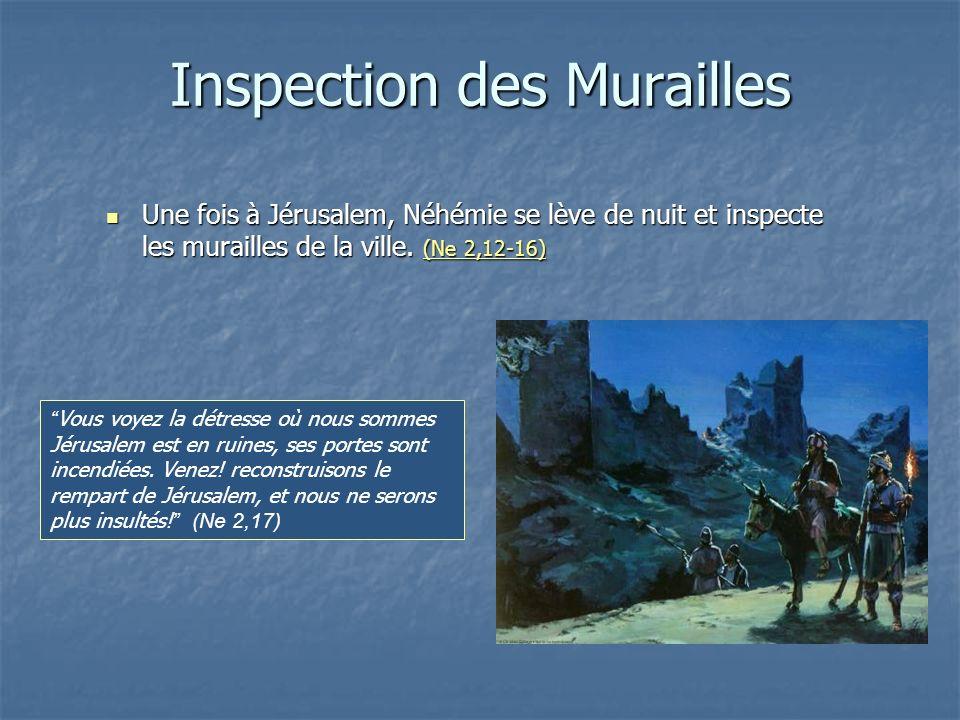 Inspection des Murailles Une fois à Jérusalem, Néhémie se lève de nuit et inspecte les murailles de la ville. (Ne 2,12-16) Une fois à Jérusalem, Néhém