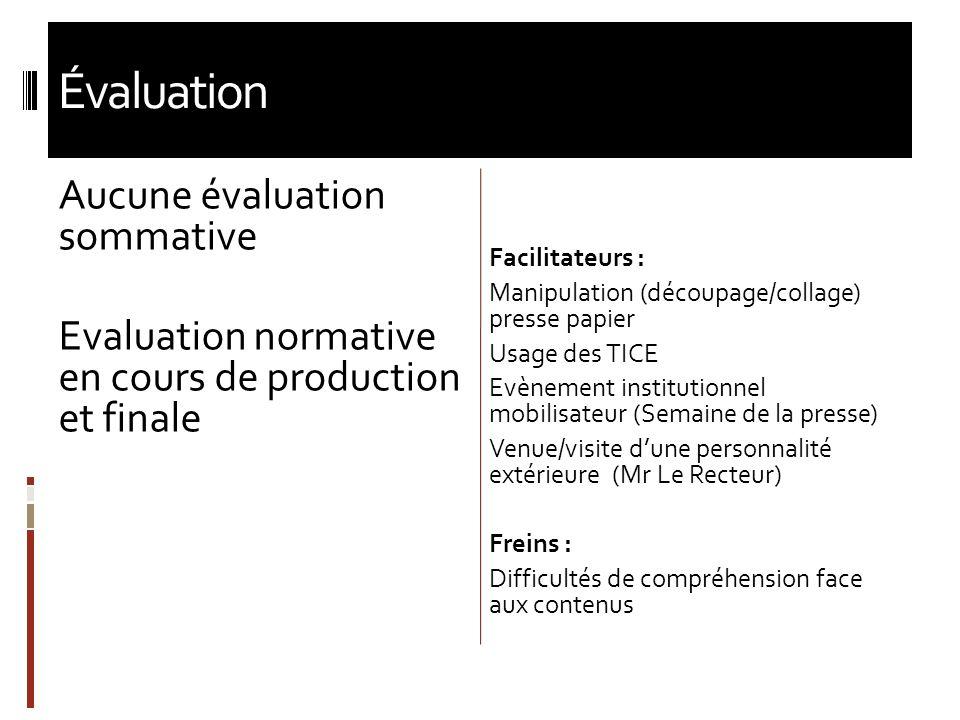Évaluation Aucune évaluation sommative Evaluation normative en cours de production et finale Facilitateurs : Manipulation (découpage/collage) presse p