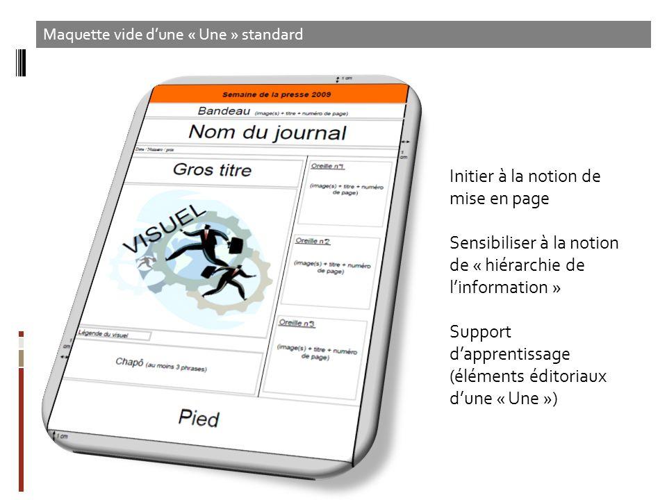 Initier à la notion de mise en page Sensibiliser à la notion de « hiérarchie de linformation » Support dapprentissage (éléments éditoriaux dune « Une