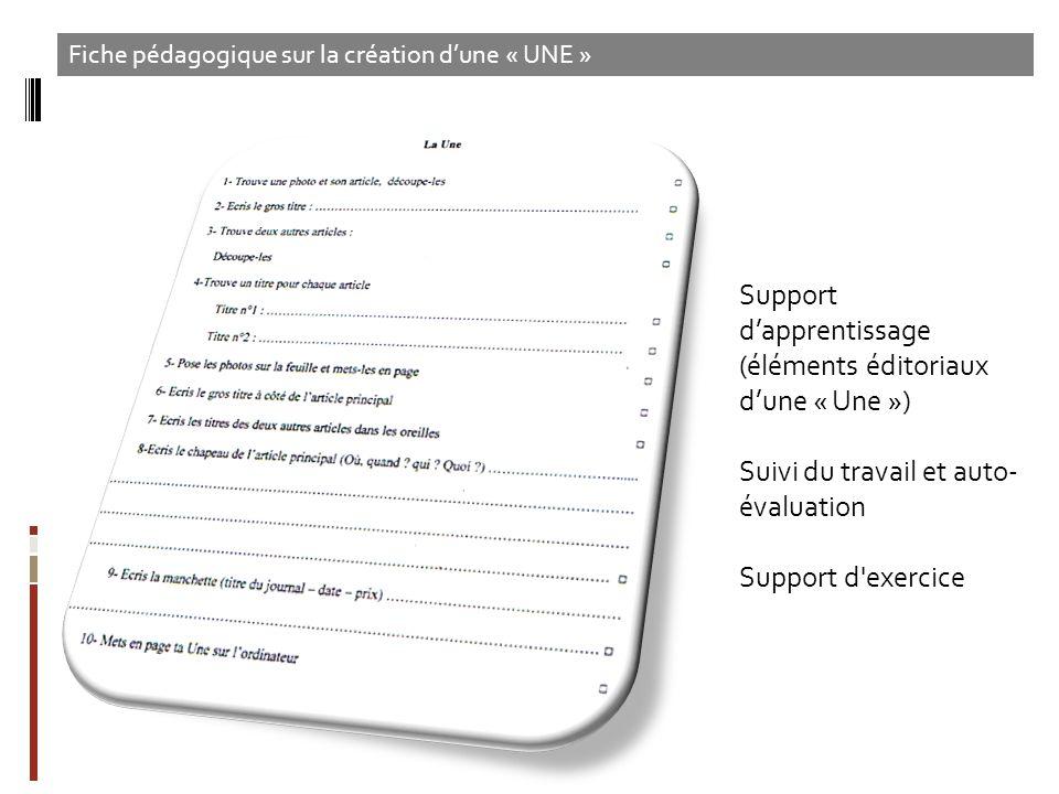 Support dapprentissage (éléments éditoriaux dune « Une ») Suivi du travail et auto- évaluation Support d'exercice Fiche pédagogique sur la création du