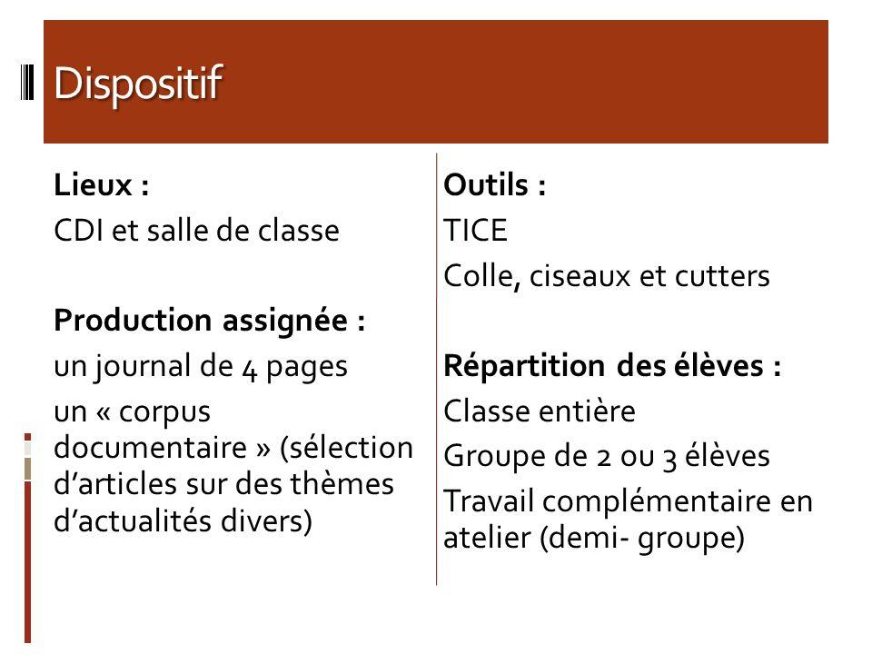 Dispositif Lieux : CDI et salle de classe Production assignée : un journal de 4 pages un « corpus documentaire » (sélection darticles sur des thèmes d