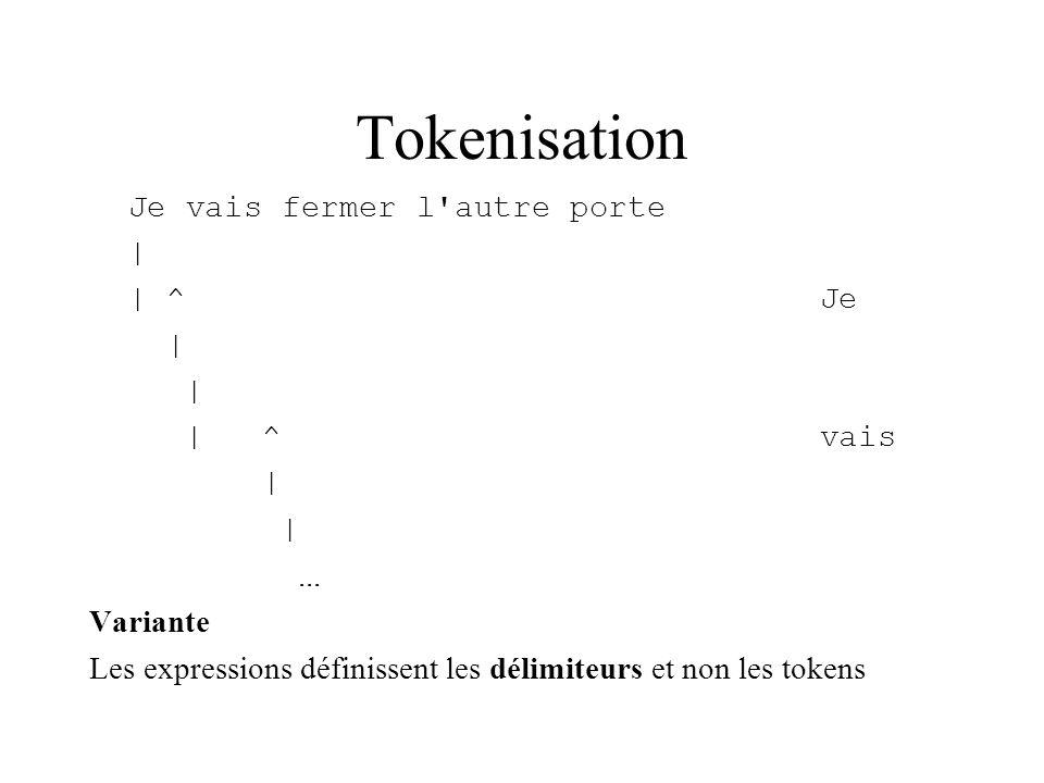 Tokenisation Je vais fermer l'autre porte | | ^Je | | ^vais |... Variante Les expressions définissent les délimiteurs et non les tokens