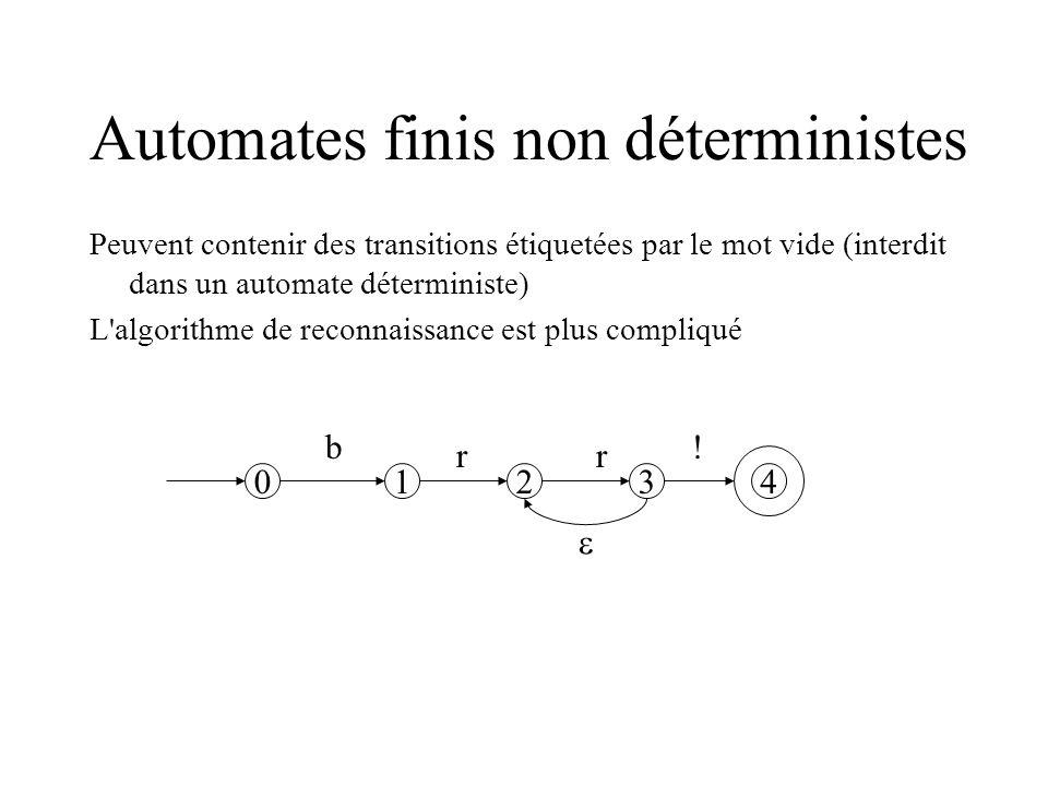 Automates finis non déterministes Peuvent contenir des transitions étiquetées par le mot vide (interdit dans un automate déterministe) L algorithme de reconnaissance est plus compliqué 0123 4 b rr !