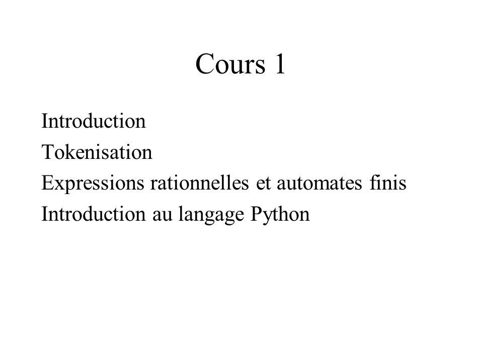 Expressions rationnelles Notation en python \s1 espace, fin de ligne ou tabulation \w1 caractère alphanumérique \d1 chiffre