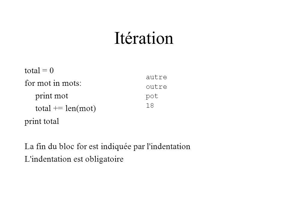 Itération total = 0 for mot in mots: print mot total += len(mot) print total La fin du bloc for est indiquée par l'indentation L'indentation est oblig