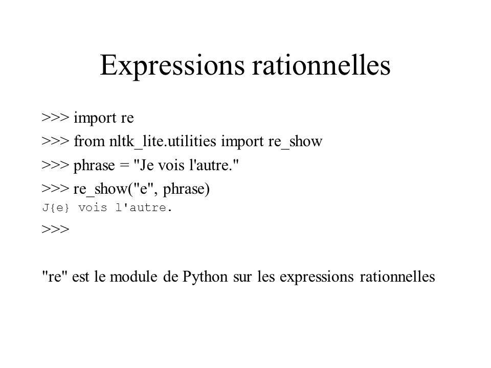 Expressions rationnelles >>> import re >>> from nltk_lite.utilities import re_show >>> phrase = Je vois l autre. >>> re_show( e , phrase) J{e} vois l autre.