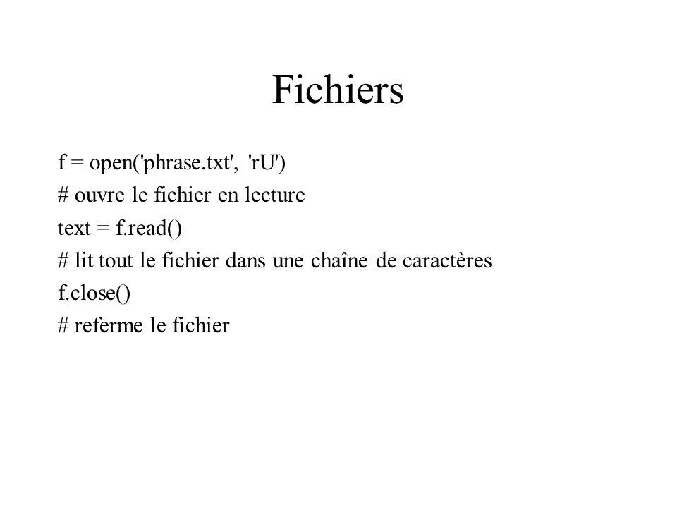 Fichiers f = open( phrase.txt , rU ) # ouvre le fichier en lecture text = f.read() # lit tout le fichier dans une chaîne de caractères f.close() # referme le fichier