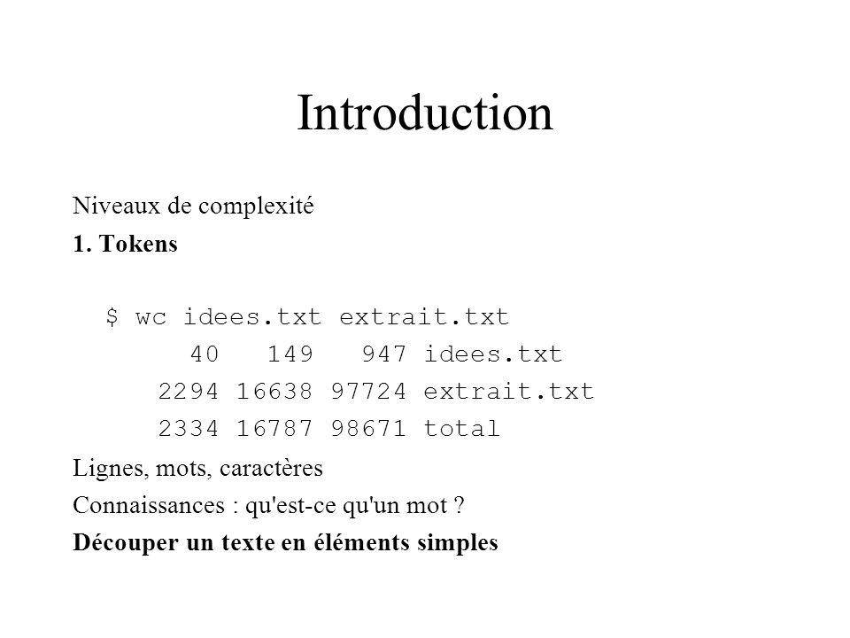 Introduction Niveaux de complexité 1. Tokens $ wc idees.txt extrait.txt 40 149 947 idees.txt 2294 16638 97724 extrait.txt 2334 16787 98671 total Ligne