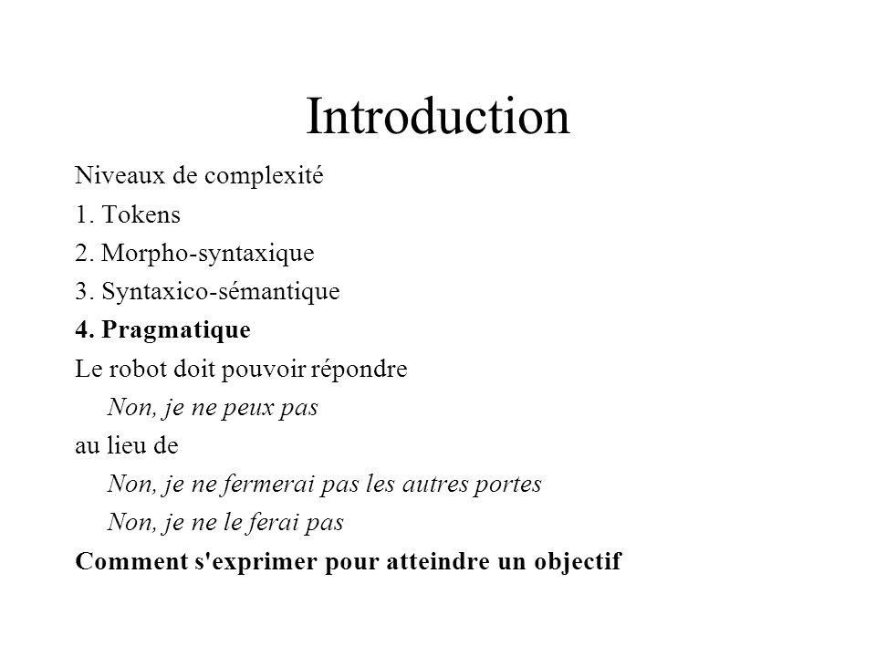 Introduction Niveaux de complexité 1. Tokens 2. Morpho-syntaxique 3. Syntaxico-sémantique 4. Pragmatique Le robot doit pouvoir répondre Non, je ne peu