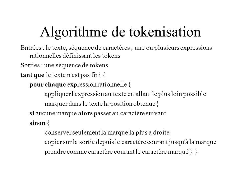 Algorithme de tokenisation Entrées : le texte, séquence de caractères ; une ou plusieurs expressions rationnelles définissant les tokens Sorties : une