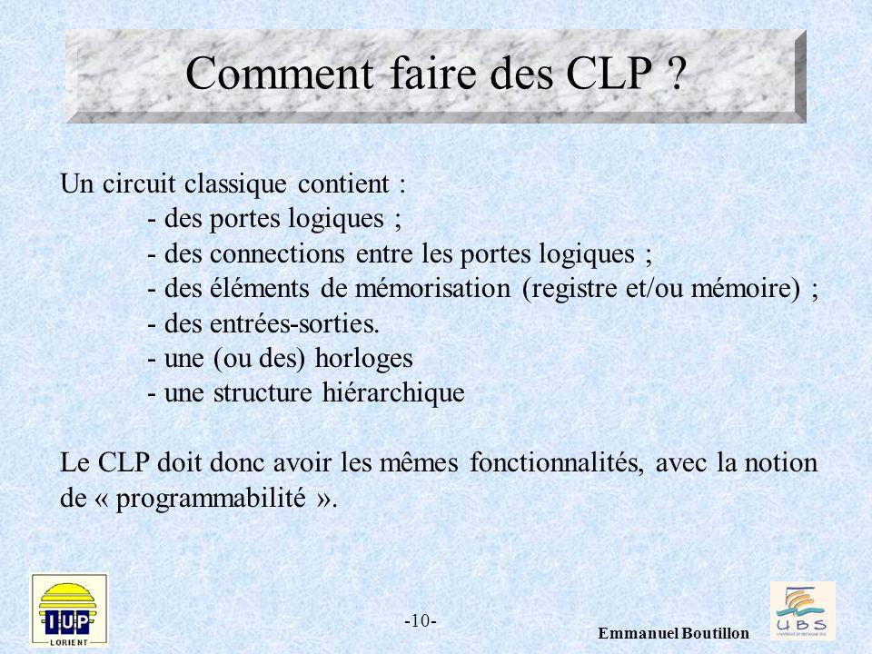 -10- Emmanuel Boutillon Comment faire des CLP ? Un circuit classique contient : - des portes logiques ; - des connections entre les portes logiques ;