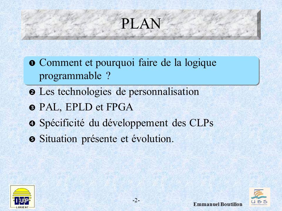 -2- Emmanuel Boutillon Comment et pourquoi faire de la logique programmable ? Les technologies de personnalisation PAL, EPLD et FPGA Spécificité du dé