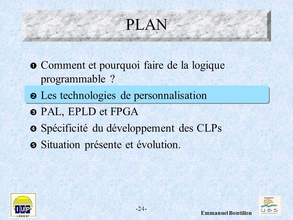 -24- Emmanuel Boutillon Comment et pourquoi faire de la logique programmable ? Les technologies de personnalisation PAL, EPLD et FPGA Spécificité du d