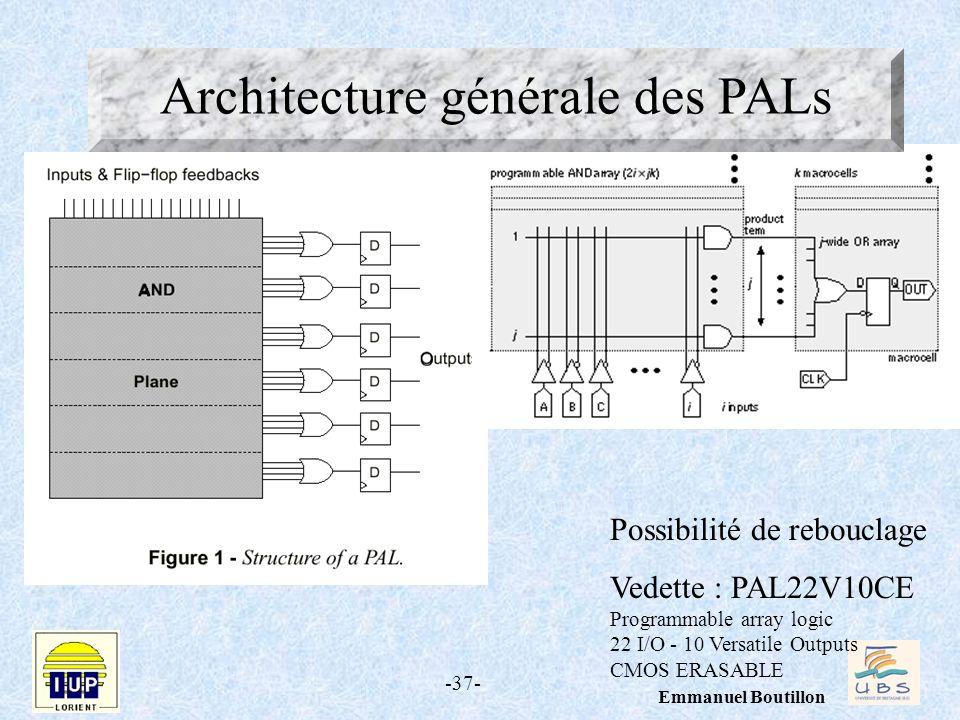 -37- Emmanuel Boutillon Principe des PAL Possibilité de rebouclage Vedette : PAL22V10CE Programmable array logic 22 I/O - 10 Versatile Outputs CMOS ER