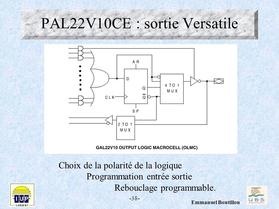 -38- Emmanuel Boutillon PAL22V10CE : sortie Versatile Choix de la polarité de la logique Programmation entrée sortie Rebouclage programmable.