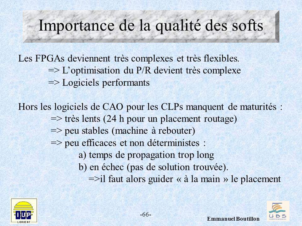 -66- Emmanuel Boutillon Importance de la qualité des softs Les FPGAs deviennent très complexes et très flexibles. => Loptimisation du P/R devient très