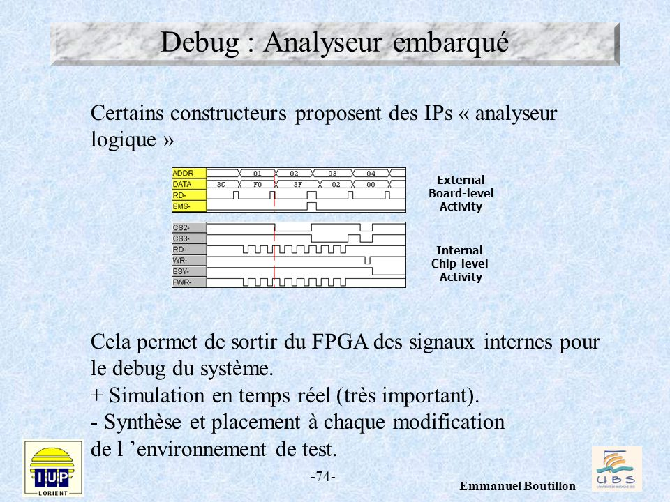 -74- Emmanuel Boutillon Debug : Analyseur embarqué Internal Chip-level Activity External Board-level Activity Certains constructeurs proposent des IPs « analyseur logique » Cela permet de sortir du FPGA des signaux internes pour le debug du système.