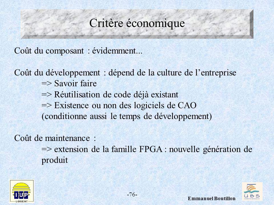 -76- Emmanuel Boutillon Critère économique Coût du composant : évidemment... Coût du développement : dépend de la culture de lentreprise => Savoir fai