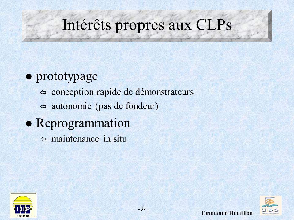 -9- Emmanuel Boutillon l prototypage ï conception rapide de démonstrateurs ï autonomie (pas de fondeur) l Reprogrammation ï maintenance in situ Intérê
