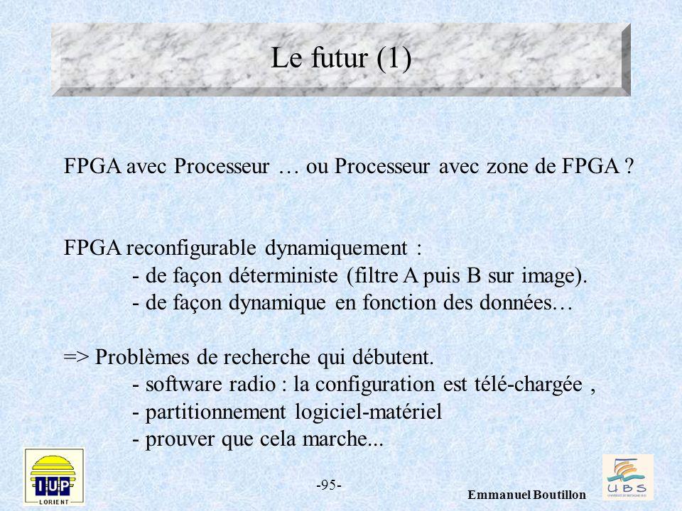 -95- Emmanuel Boutillon Le futur (1) FPGA avec Processeur … ou Processeur avec zone de FPGA ? FPGA reconfigurable dynamiquement : - de façon détermini