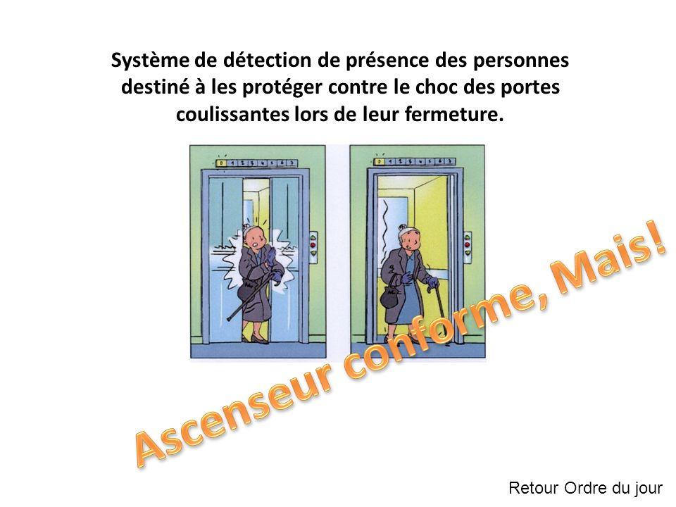 Système de détection de présence des personnes destiné à les protéger contre le choc des portes coulissantes lors de leur fermeture.