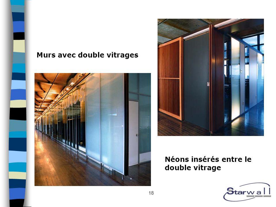 18 Murs avec double vitrages Néons insérés entre le double vitrage