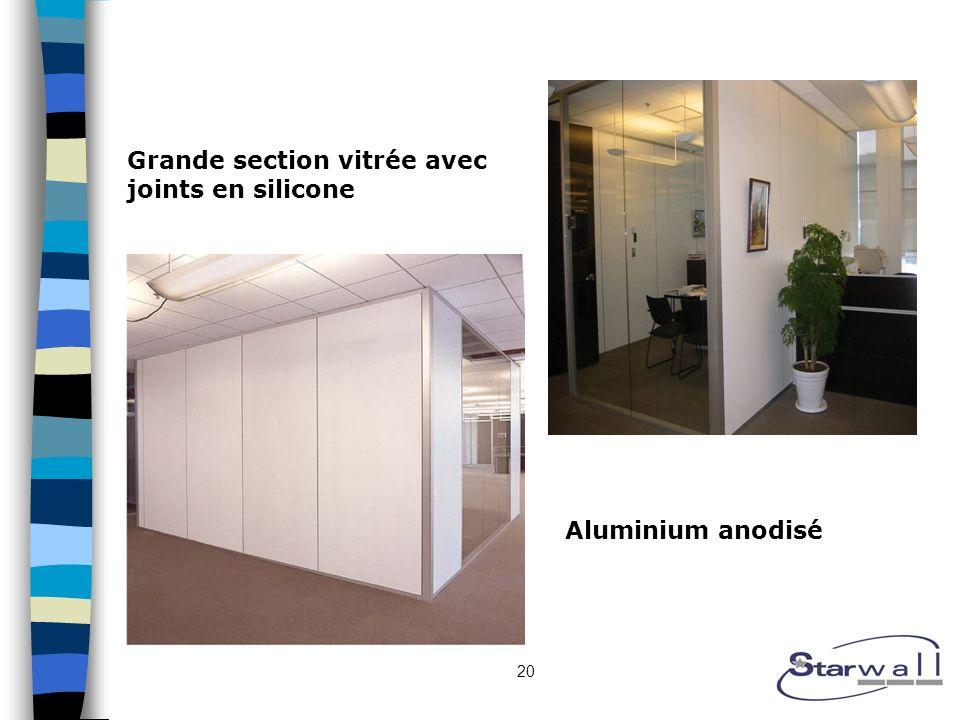 20 Grande section vitrée avec joints en silicone Aluminium anodisé