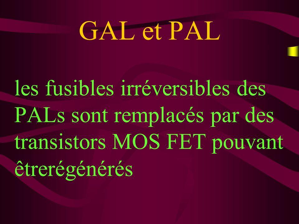 GAL et PAL les GALs sont constitués de transistor CMOS alors que les PALs classiques sont constitués de transistors bipolaires