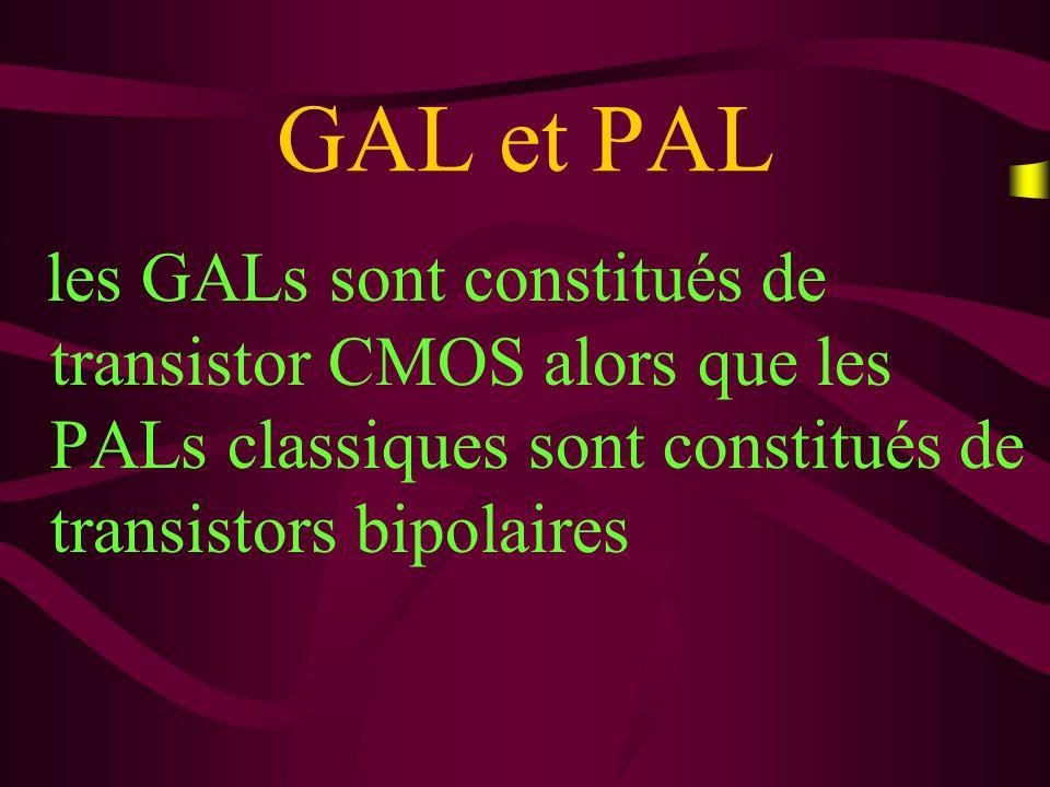 GAL et PAL La consommation des GALs est donc beaucoup plus faible Un GAL peut émuler nimporte quel PAL.