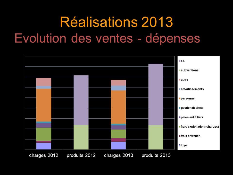 Réalisations 2013 Evolution des ventes - dépenses