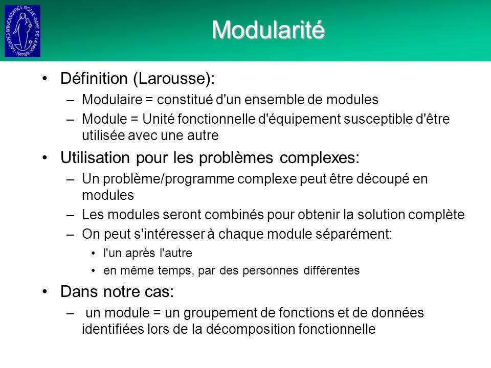 Modularité Définition (Larousse): –Modulaire = constitué d un ensemble de modules –Module = Unité fonctionnelle d équipement susceptible d être utilisée avec une autre Utilisation pour les problèmes complexes: –Un problème/programme complexe peut être découpé en modules –Les modules seront combinés pour obtenir la solution complète –On peut s intéresser à chaque module séparément: l un après l autre en même temps, par des personnes différentes Dans notre cas: – un module = un groupement de fonctions et de données identifiées lors de la décomposition fonctionnelle