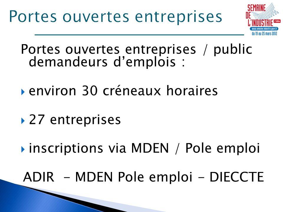 Portes ouvertes entreprises / public demandeurs demplois : environ 30 créneaux horaires 27 entreprises inscriptions via MDEN / Pole emploi ADIR - MDEN Pole emploi - DIECCTE