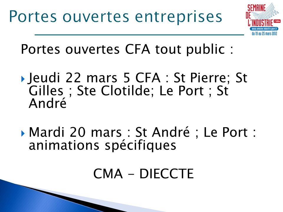 Portes ouvertes CFA tout public : Jeudi 22 mars 5 CFA : St Pierre; St Gilles ; Ste Clotilde; Le Port ; St André Mardi 20 mars : St André ; Le Port : animations spécifiques CMA - DIECCTE